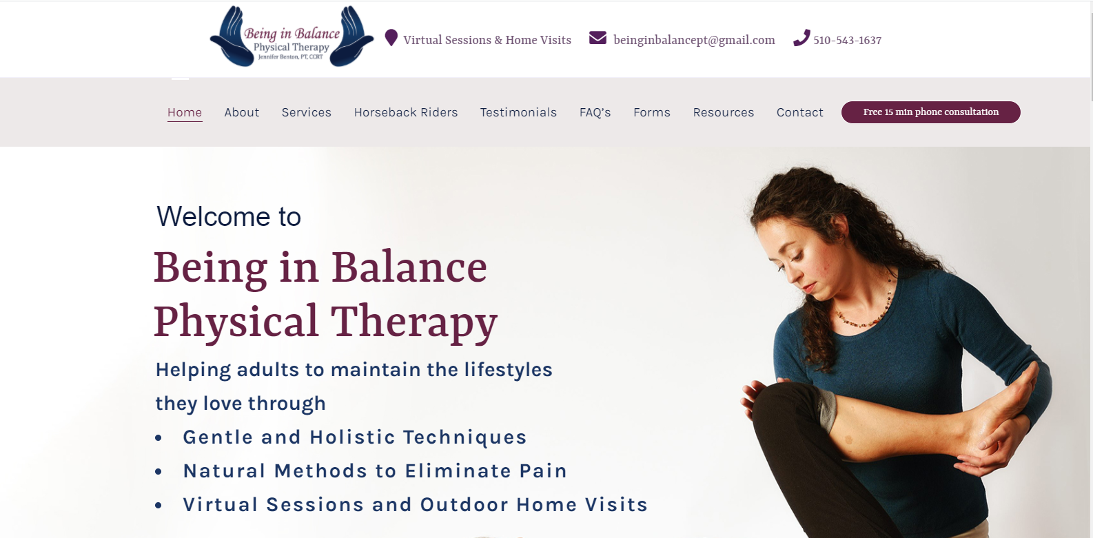 Being in balance Branded website designed by Sheryl Rhoades