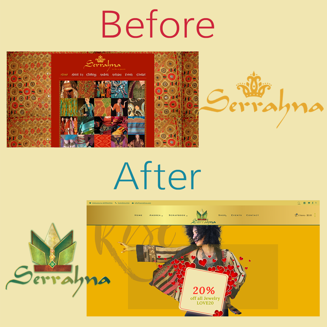 serrahna website and logo before and after design